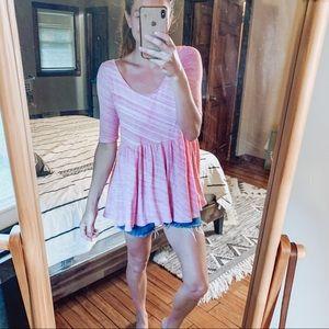 Free People Beach Pink 3/4 sleeve babydoll tunic